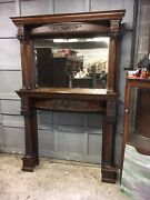 Victorian Curved Front Oak Fireplace Mantel