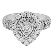 1 1/2 Ct Diamond Pear-shaped Halo Ring In 10k White Gold