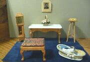 1/12th Scale Dollhouse Miniature Pecan Table Clock Bench Basket Tintype Cat Lot