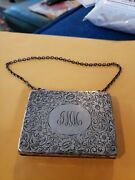 Antique Hand Bag Sterling Silver Chain Link Purse Repousse Angle Frame