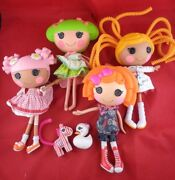 4 Cute Lalaloopsy Dolls With Clothes Pets Assessories - Lot Of 6
