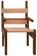 22 W Set Of 2 Modern Occasional Chair Natural Teak Wood Frame Naked Leather