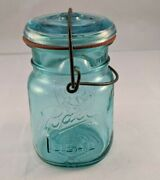 Deep Blue Ball Mason Sure Seal Pint Bail Wire Canning/fruit Jar And Glass Lid 1976