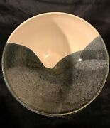 """Vtg Mid Century Modern Studio Pottery Bowl Blues Grays And White 9""""d 3lbs Signed"""