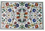 30 X 48 Inches Marble Center Table Meeting Table Top Inlay With Multi Gemstones