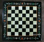 30 Inches Square Marble Coffee Cum Chess Board Table Top Gemstones Game Table