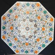 36 Inches White Marble Center Table Top Stone Coffee Table With Pietra Dura Art