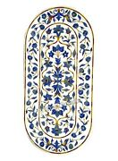 White Marble Inlay Table Top Lapis Lazuli Stone Coffee Table With Heritage Art