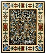 Black Marble Dinning Table Top Pietra Dura Art Patio Table With Unique Design