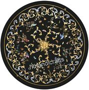 42 Inches Marble Round Living Room Table Top Black Patio Lawn Table Inlay Work