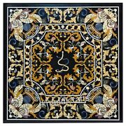 Marquetry Art Square Hall Table Top Black Marble Restaurant Table Size 48 Inches