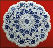 Blue Gemstones Inlaid Marble Center Table Top Round Coffee Table 30 Inches