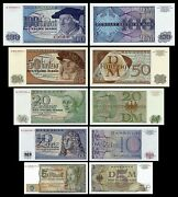 2x 5 - 100 Mark -issue 1963 Bbk Ii - Reserve Notes For West Berlin -reproduction