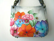 Anuschka Butterfly Mosaic Hand Painted Leather Slim Tote W Braided Handle - Nwt