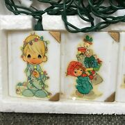 Vtg Precious Moments Christmas Tree Lights Storybook Cover String Of 10 Lights
