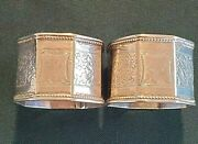 2 English Chased Sterling Napkin Rings Made In Birmingham In 1892 11103
