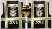 🚧 Teamsters Union Black Reflective Safety Vest 🚧 👉🏼 Add Your Local 4 Free