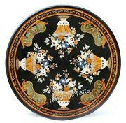 50 Inches Marble Utility Table Top Black Dinning Table Top With Royal Pattern
