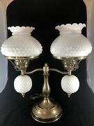 """Vintage Double Student 19"""" Lamp White Milk Glass Hobnail Shades Brass Tone"""