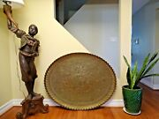Giant Brass Tray / Table Top Middle - Eastern Oriental Finest Quality Cairoware