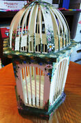 Decorative Gazebo Style Wooden White Painted Spring Flowers Domed Bird Cage Vgc