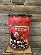 Vintage Red Indian Oil Can 5 Gallon Pail
