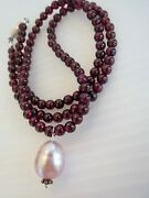 New Round Shiny Garnet And Freshwater Pearl Necklace 17l 4mm Garnet