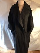 Agnona Cashmere With Leather Trims Oversized Coat Size L Made In Italy