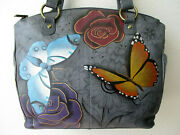 Anuschka Floral Paradise Hand Painted Leather Multi-compartment Tote Purse - Nwt