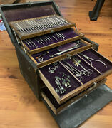 Vintage Dental Kit Box Instruments Set As Pictured Antique G. Fischer And Son...