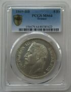 Pcgs Ms64 France 1869 Bb French Empire Napoleon Emperor Silver Coin 5f 5 Francs
