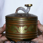 4.4 Marked Old China Red Copper Gilt Palace Dynasty Striation Ruyi Lid Censer