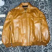 Bobby Jones Brown Leather Jacket Golf Sz Large Zip Up New Msrp 600⚡️ships Today
