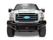 Fab Fours Black Steel No Guard W/ Tow Hooks Front Bumper For 08-10 F-250 / F-350