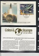 10th Ann Of The Launch Of Space Shuttle Columbia,1981-1991,medallic Cover,1295