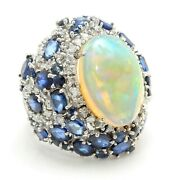 16.36 Carat Natural Opal Sapphire And Diamond In 14k Solid White Gold Women Ring