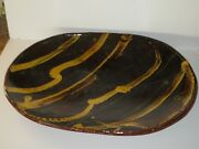 Huge Antique Redware Trencher Bowl With Slip Glaze Decoration, With Repair