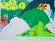 Walasse Ting 丁雄泉 Woman With Green Shirt 1985 Hand Signed Large 39x28 Chinese/us