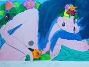 Walasse Ting 丁雄泉 Blue Hair Woman 1988 Hand Signed Large 39x28 Litho Chinese/us