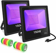 150w Uv Flood Light Led Black Waterproof For Blacklight Party Supplies 2 Pack