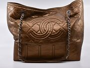 Large Chain Shoulder Tote Bag Gst - Brown - Authentic Coco
