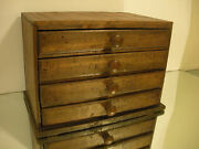Early Primitive Antique Small 4 Drawer Sewing Tool Chest Cabinet Box 10 3/4