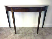 Antique Federal Demilune Kittinger Inlaid Mohagony Console Side Table Half Round
