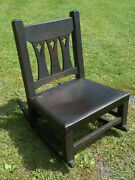 Antique Mission Oak Art And Crafts Cutout Rocking Chair Limbert Stickley Bros