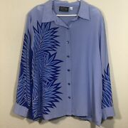 Bob Mackie Blue Silk Button Up Collared Xl Long Sleeve Wear Able Art Periwinkle