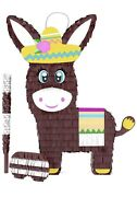 Donkey Pinata Blindfold And Bat Holds 5 Lbs Of Candy 16 X 11 X 4 Inches A N3