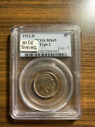 1913-d Type Two Buffalo Nickel 5c Pcgs Ms 65 Type 2, Five Cents In Recess Rare