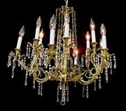 Magnificent Rare French Vintage 12 Light 29 X 26 Brass And Crystal Chandelier