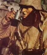 Ww2 Color Wwii Photo German Soldier Drinking From Canteen World War Two / 2166