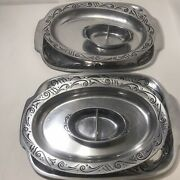 Lenox 2 Metal Serving Platter Set With 2 Serving Bowls And 2 Sauce Dishes